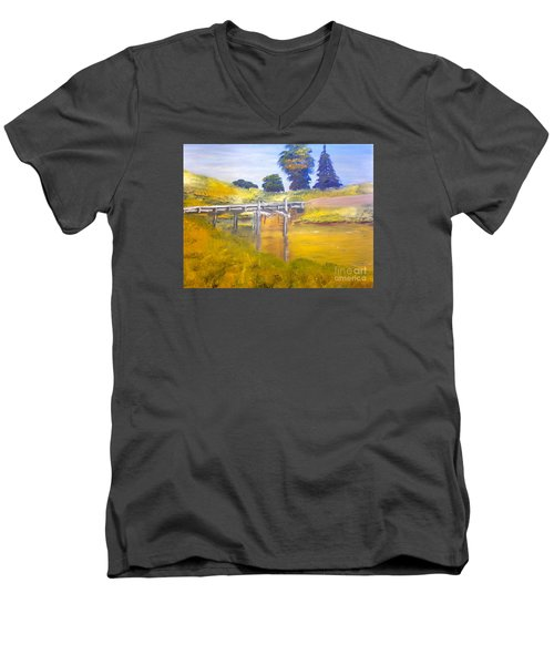 Men's V-Neck T-Shirt featuring the painting Wooden Bridge At Graften by Pamela  Meredith