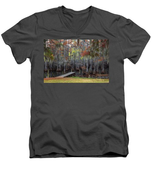 Wooden Dock On Autumn Swamp Men's V-Neck T-Shirt