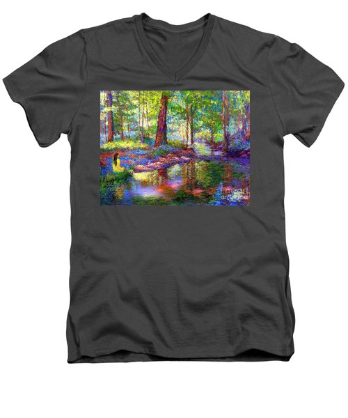 Men's V-Neck T-Shirt featuring the painting Woodland Rapture by Jane Small