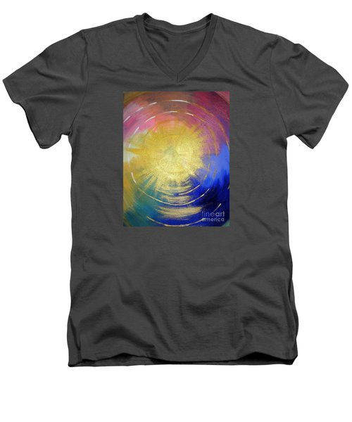 Men's V-Neck T-Shirt featuring the painting The Word Of God by Karen Jane Jones