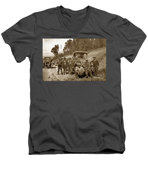 Workers On Highway One Monterey Carmel Hill California 1929 Men's V-Neck T-Shirt by California Views Mr Pat Hathaway Archives