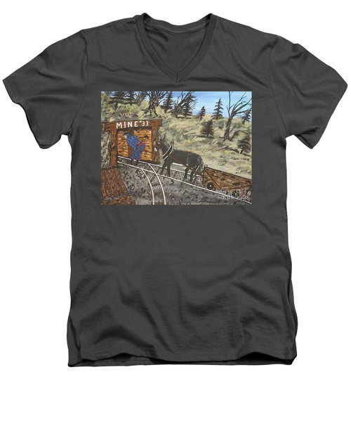 Men's V-Neck T-Shirt featuring the painting  The Coal Mine by Jeffrey Koss