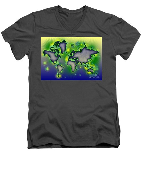 World Map Amuza In Blue Yellow And Green Men's V-Neck T-Shirt by Eleven Corners
