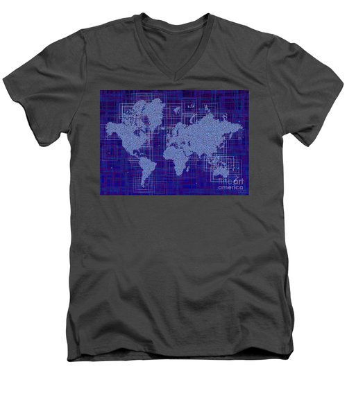 World Map Rettangoli In Blue And White Men's V-Neck T-Shirt by Eleven Corners