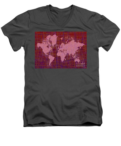 World Map Rettangoli In Pink Red And Purple Men's V-Neck T-Shirt by Eleven Corners
