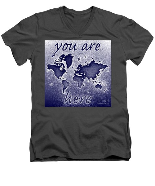 World Map You Are Here Novo In Blue Men's V-Neck T-Shirt by Eleven Corners
