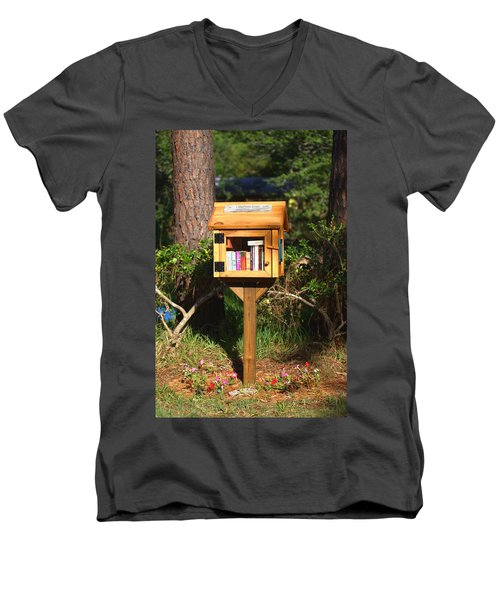 Men's V-Neck T-Shirt featuring the photograph World's Smallest Library by Gordon Elwell