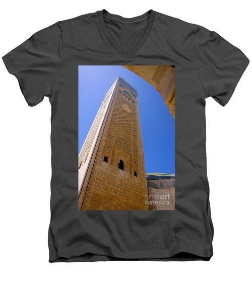Men's V-Neck T-Shirt featuring the photograph Worlds Tallest Minaret At 210m Hassan II Mosque Grand Mosque Sour Jdid Casablanca Morocco by Ralph A  Ledergerber-Photography
