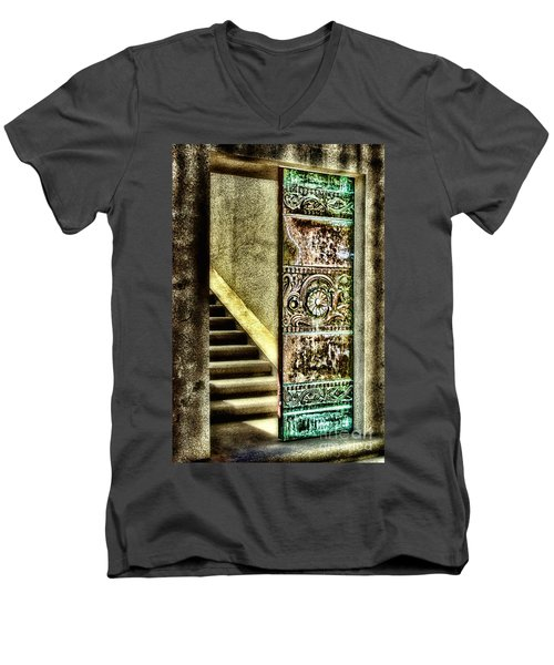 Wrigley's Tower Bronze Doors By Diana Sainz Men's V-Neck T-Shirt