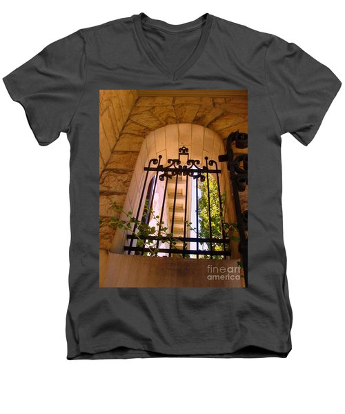 Men's V-Neck T-Shirt featuring the photograph Wrought Iron Arch Window 1 by Becky Lupe