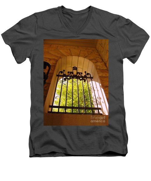 Men's V-Neck T-Shirt featuring the photograph Wrought Iron Arch Window by Becky Lupe