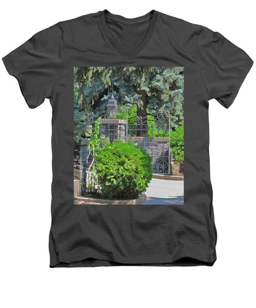 Wrought Iron Gate Men's V-Neck T-Shirt by Donald S Hall