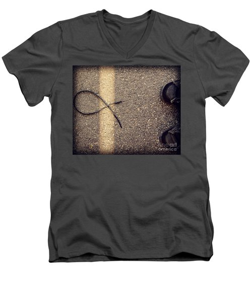 Men's V-Neck T-Shirt featuring the photograph X On The Line by Meghan at FireBonnet Art