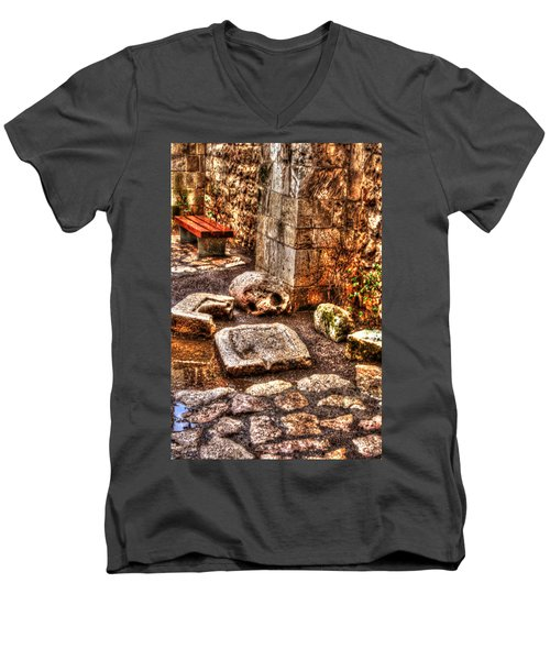Men's V-Neck T-Shirt featuring the photograph Stones That Don't Lie - Israel by Doc Braham