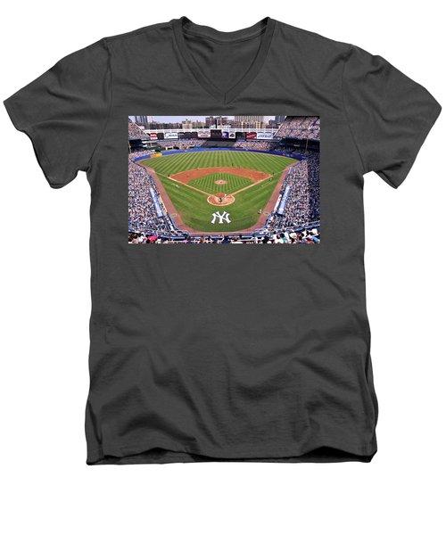 Yankee Stadium Men's V-Neck T-Shirt by Allen Beatty