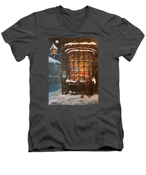 Men's V-Neck T-Shirt featuring the painting Ye Old Toy Shoppe by Jean Walker