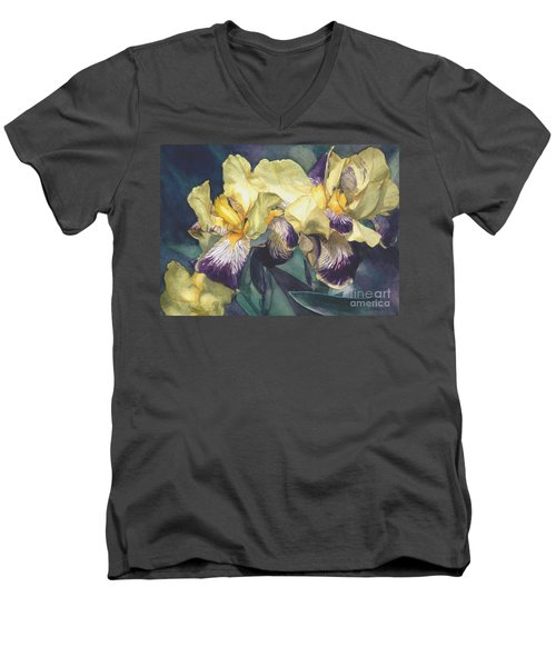Men's V-Neck T-Shirt featuring the painting Yellow And Purple Streaked Irises by Greta Corens