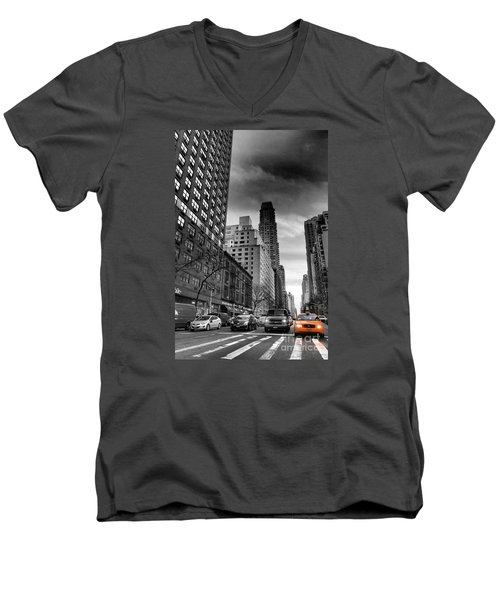 Yellow Cab One - New York City Street Scene Men's V-Neck T-Shirt by Miriam Danar