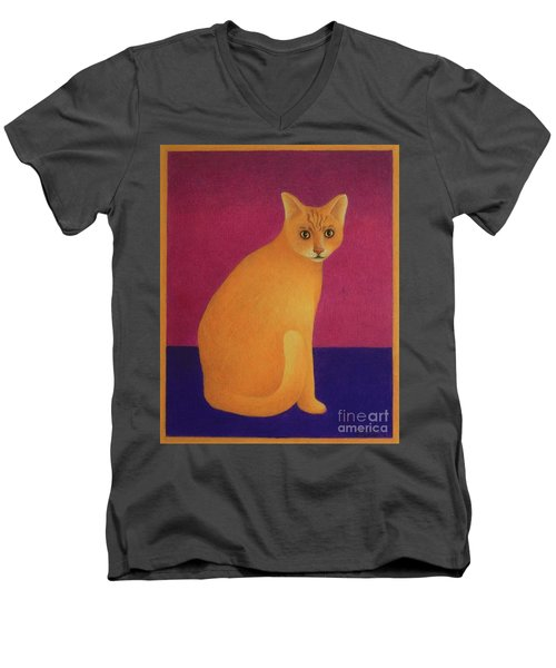 Men's V-Neck T-Shirt featuring the painting Yellow Cat by Pamela Clements