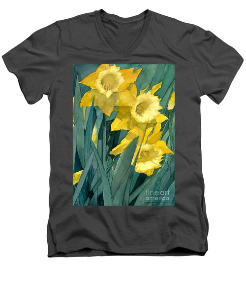 Men's V-Neck T-Shirt featuring the painting Yellow Daffodils by Greta Corens