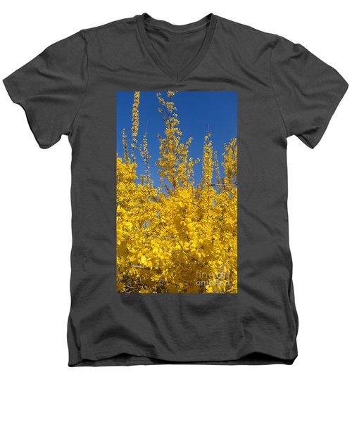 Yellow Explosion Men's V-Neck T-Shirt by Melissa Petrey