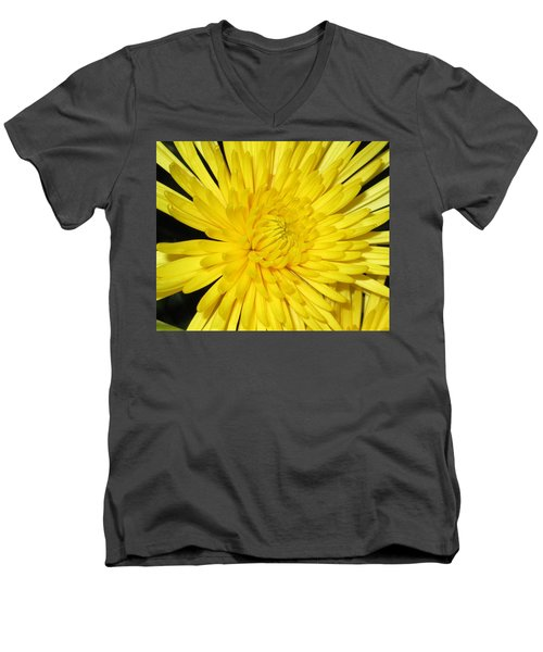 Yellow Flower Closeup Men's V-Neck T-Shirt by Barbara Yearty