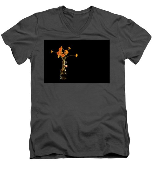 Orange Flowers On Black Background Men's V-Neck T-Shirt