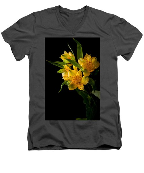 Men's V-Neck T-Shirt featuring the photograph Yellow Flowers by Sennie Pierson
