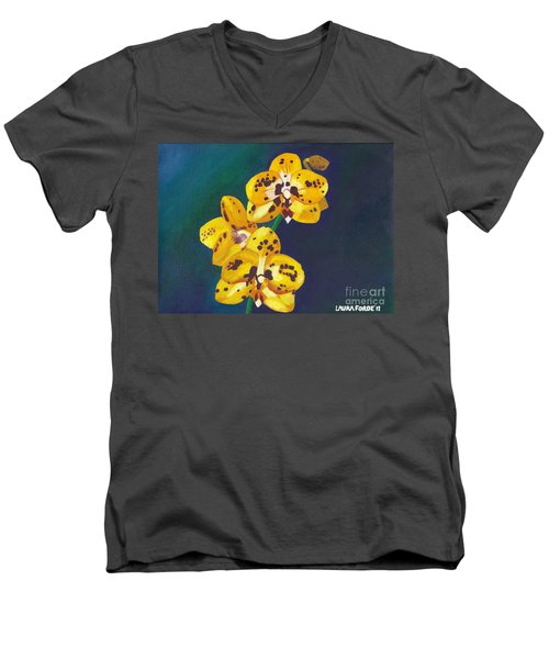 Men's V-Neck T-Shirt featuring the painting Yellow Orchids by Laura Forde