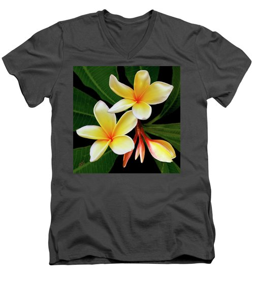 Yellow Plumeria Men's V-Neck T-Shirt by Ben and Raisa Gertsberg