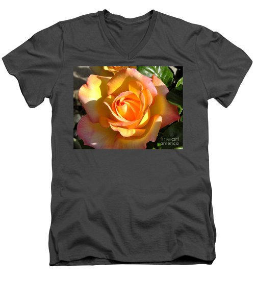 Yellow Rose Bud Men's V-Neck T-Shirt by Debby Pueschel
