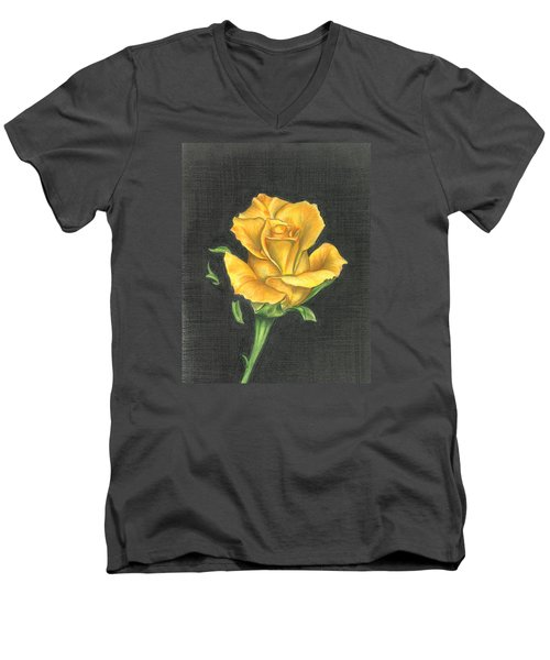 Yellow Rose Men's V-Neck T-Shirt by Troy Levesque
