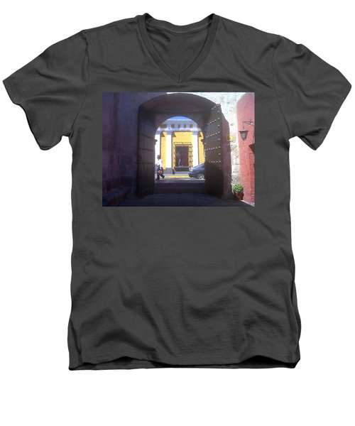 Men's V-Neck T-Shirt featuring the photograph Yellow Stucco by Lew Davis