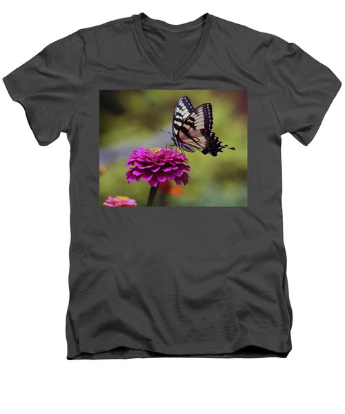Yellow Tiger Swallowtail Butterfly Men's V-Neck T-Shirt by Kay Novy