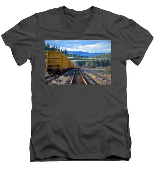 Yellow Train To The Mountains Men's V-Neck T-Shirt
