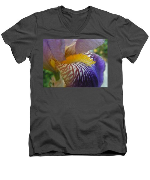 Men's V-Neck T-Shirt featuring the photograph Yellow Tuft by Cheryl Hoyle