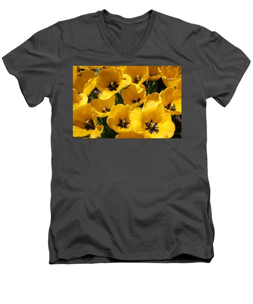 Men's V-Neck T-Shirt featuring the photograph Golden Tulips In Full Bloom by Dora Sofia Caputo Photographic Art and Design