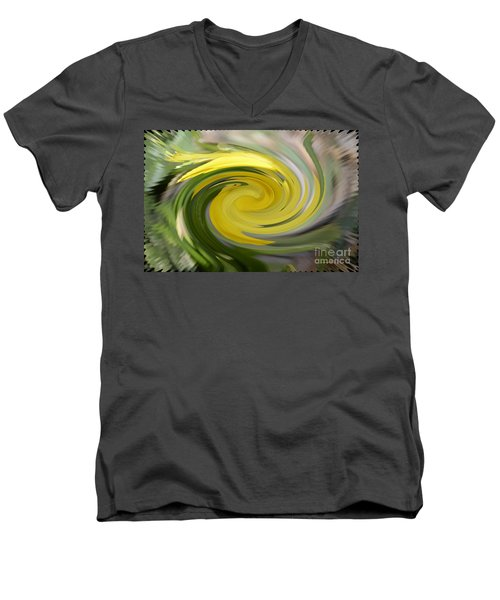Men's V-Neck T-Shirt featuring the digital art Yellow Whirlpool by Luther Fine Art