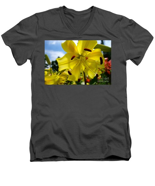 Yellow Whopper Lily 2 Men's V-Neck T-Shirt by Jacqueline Athmann