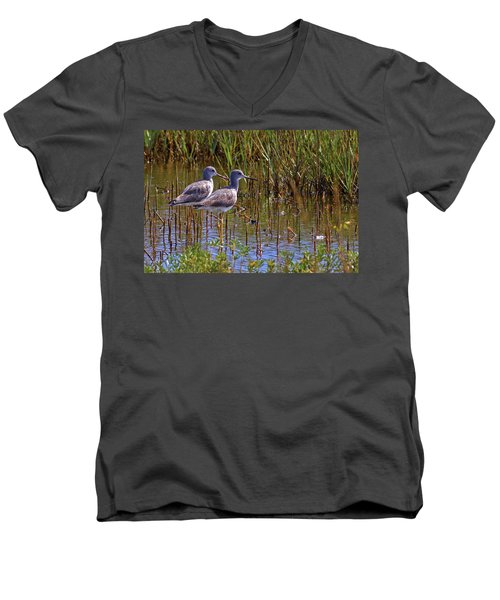 Men's V-Neck T-Shirt featuring the photograph Yellowlegs Of Texas by Gary Holmes
