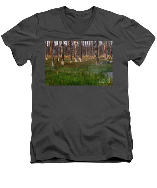 Men's V-Neck T-Shirt featuring the photograph Yellowstone Mysterious Morning by Teresa Zieba