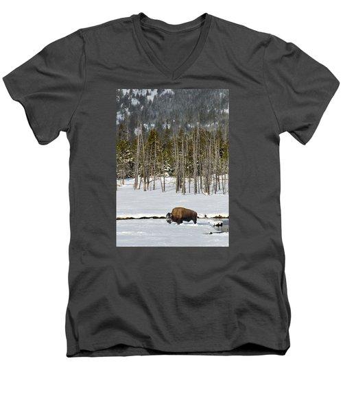 Yellowstone Winter Men's V-Neck T-Shirt by Alan Toepfer