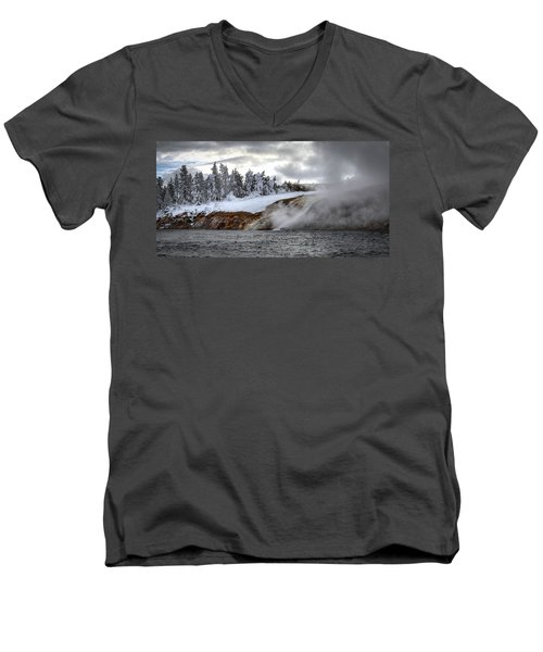 Yellowstone's Fire And Ice Men's V-Neck T-Shirt