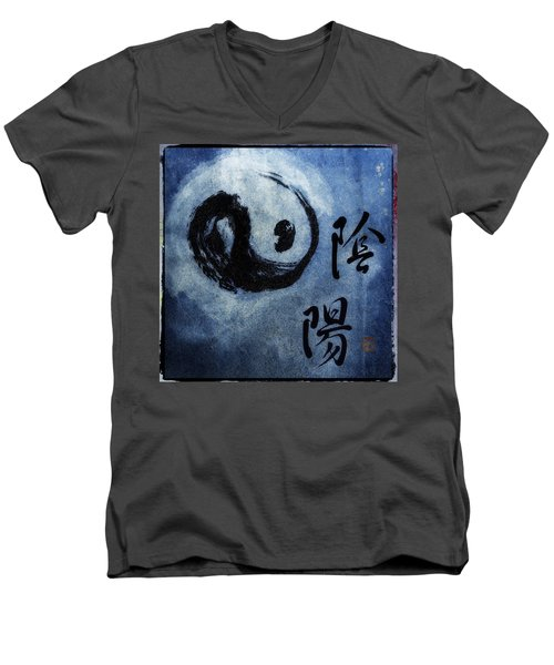 Men's V-Neck T-Shirt featuring the photograph Yin  Yang Brush Calligraphy by Peter v Quenter