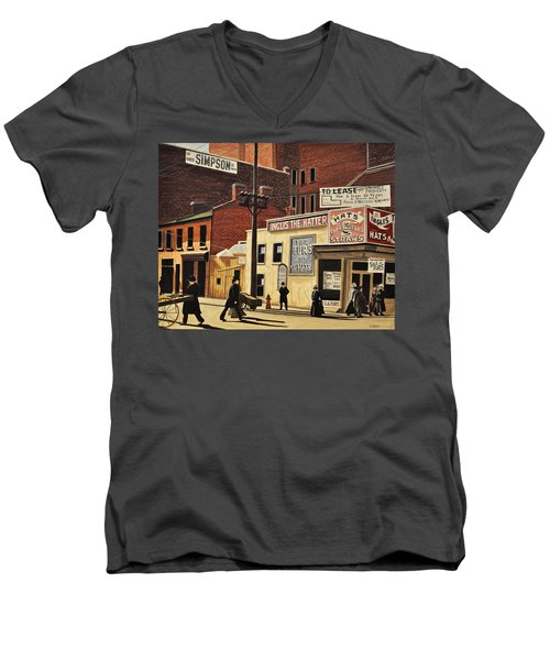 Men's V-Neck T-Shirt featuring the painting Yonge And Richmond Streets 1899 by Kenneth M  Kirsch