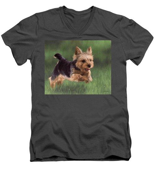 Yorkshire Terrier Painting Men's V-Neck T-Shirt