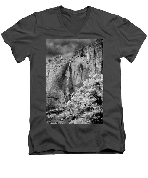 Men's V-Neck T-Shirt featuring the photograph Yosemite Falls by Mark Greenberg