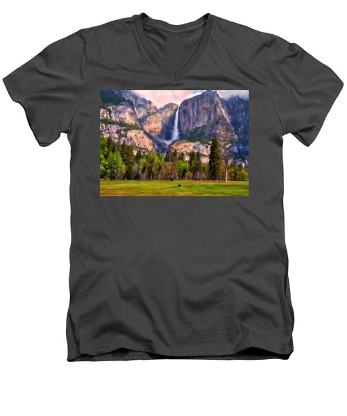 Yosemite Falls Men's V-Neck T-Shirt by Michael Pickett