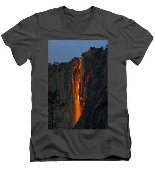 Yosemite Horsetail Falls Men's V-Neck T-Shirt by Duncan Selby