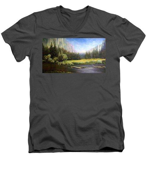 Yosemite Men's V-Neck T-Shirt by Loxi Sibley